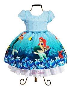 Vestido Infantil Fantasia Sereia Ariel Fundo Do Mar 1 A 8