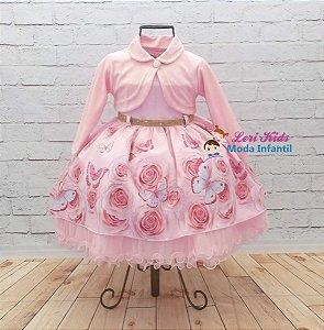 Vestido Infantil Super Luxo + Bolero Rosa Festa Borboletas