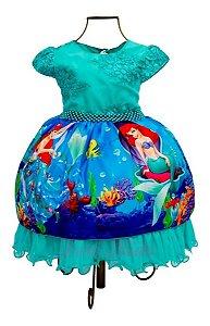 Vestido Luxo  Pequena Sereia Ariel Aniversário Infantil