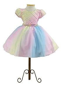 Vestido Circo Rosa Aniversário Infantil Colorido