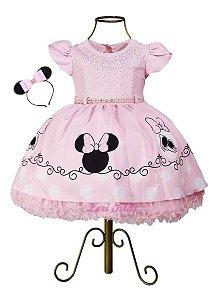 Vestido Super Luxo Festa Infantil Minnie Rosa Claro + Tiara