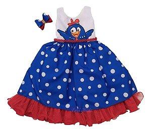Vestido Infantil Temático Galinha Pintadinha Festa Luxo