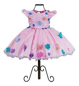 Vestido Jardim Encantado Luxo Apliques Borboletas 1 A 4 Anos