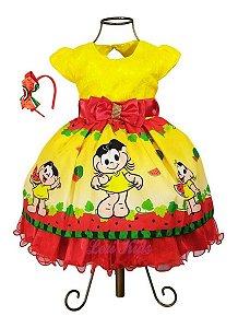 Vestido Infantil Magali Luxo Temático Festa Aniversário