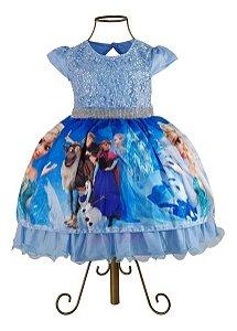 Vestido Festa Infantil Desenho Frozen Princesa Elsa E Anna