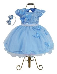 Vestido Luxo Infantil Jardim Encantado Azul