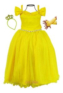 Vestido Bela E A Fera Luxo Infantil Festa Longo Tiara E Luva
