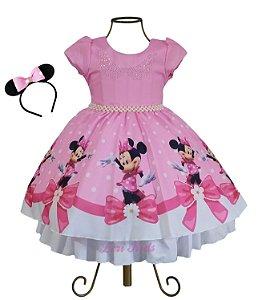 Vestido Minnie Rosa Com Tiara Brinde Super Luxo