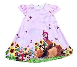 Vestido Luxo Festa Infantil Masha E O Urso Trapézio