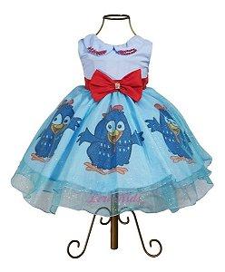Vestido Galinha Pintadinha Azul Luxo