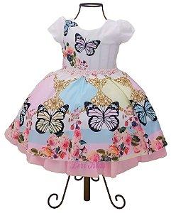 Vestido Infantil Borboletas Jardim  Luxo Encantado + Tiara
