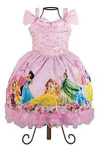 Vestido Luxo Festa Infantil Tema Princesas