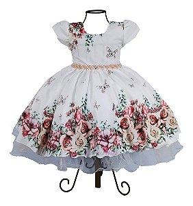 Vestido Luxo Festa Infantil Floral Borboletas