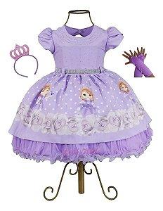 Vestido Infantil Princesinha Sofia Luxo Com Tiara E Luva