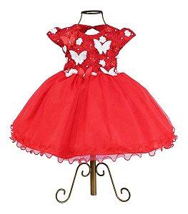 Vestido Infantil Vermelho Luxo Borboletas