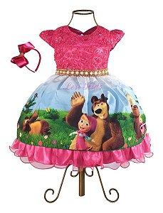 Vestido Luxo Festa Infantil Tema Masha E O Urso 1,2,3,4 Anos