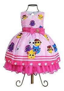 Vestido Bolofofos Rosa Temático Infantil Luxo Festa