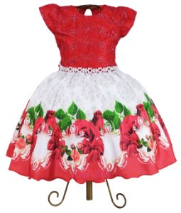 Vestido Infantil Vermelho Floral Festa 4 A 12 Anos