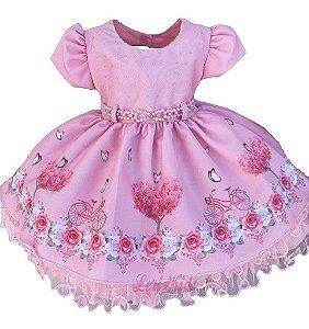 Vestido Luxo Infantil Tema Jardim Encantado Bebê P Ao G