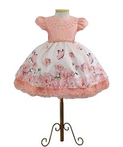 Vestido Luxo Festa Infantil Tema Jardim Encantado 1,2,3 anos
