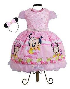 Vestido Minnie Rosa Baby Luxo Com Tiara Luxo 1,2,3 Anos