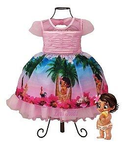 Vestido Luxo Infantil Moana Baby Rosa