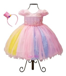 Vestido Luxo Festa Infantil Tema Circo Rosa + Tiara Cartola