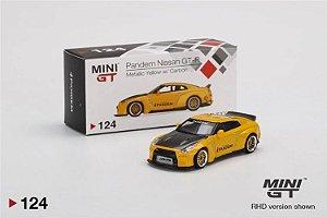 Nissan GTR Liberty walk amarelo - 1:64 - Mini GT