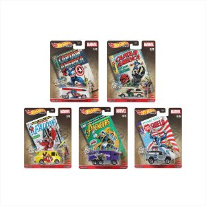 Set Pop Culture Marvel 2021 Garage 5 carros - 1/64 - Hotwheels
