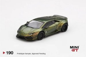 Lamborghini Huracán Liberty Walk verde camaleão - 1:64 - Mini GT