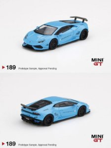 Lamborghini Huracán Liberty Walk azul - 1:64 - Mini GT