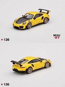 Porsche GT2 RS amarelo - 1:64 - Mini GT
