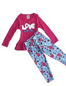 Conjunto Love Rosa Pink com aplicação