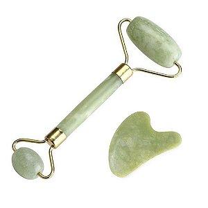 Rolo de Massagem e Guasha Coração Pedra Jade Verde - Smart GR