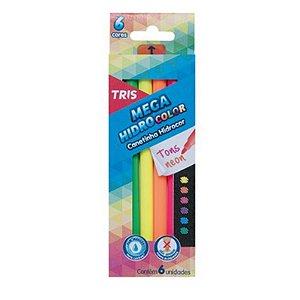 6 Canetinhas Mega Hidro Color Tons Neons - unitário - Tris