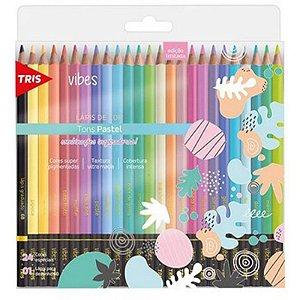 24 Lápis de Cor Vibes Tons Pastel + 1 Lápis Preto 6B - unitário - Tris