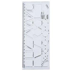 Régua Retangular Gabarito de Formas Geométricas - unitário - Waleu