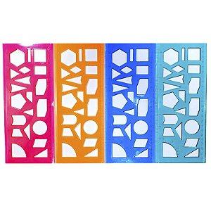 Régua Neon Gabarito de Formas Geométricas - unitário
