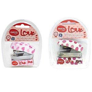 Grampeador Mini Love c/ 1.000 grampos - unitário - Molin