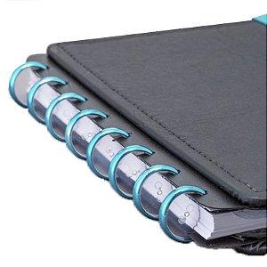 Disco + Elástico Inteligente Médio Azul Metálico - unitário - Caderno Inteligente