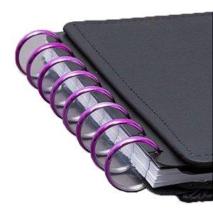 Disco + Elástico Inteligente Grande Rosa Metálico - unitário - Caderno Inteligente