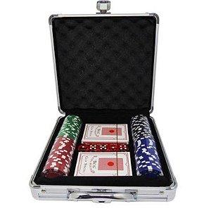 Kit Maleta de Fichas de Poker c/ 100 - unitário - Importado