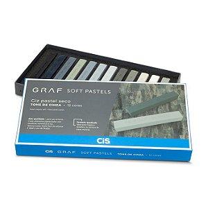 "Giz Pastel Seco ""Graf Soft Pastels"" 12 Tons de Cinza - unitário - CIS"