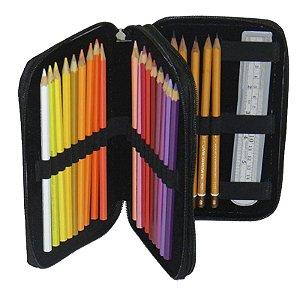 Estojo com 2 Zíper para 24 Lápis - unitário - Stylus Tec