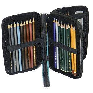 Estojo com 3 Zíper para 36 Lápis - unitário - Stylus Tec