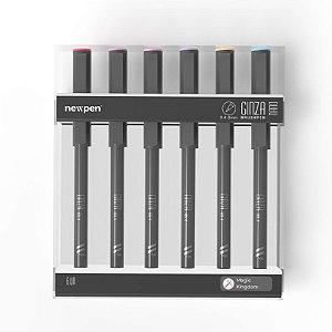 "Brush Pen Ginza Nano ""Magic Kingdom"" - Kit com 6 unidades - Newpen"