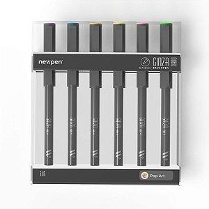 "Brush Pen Ginza Nano ""Pop Art"" - Kit com 6 unidades - Newpen"
