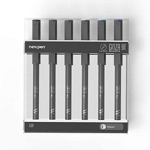 """Brush Pen Ginza Nano """"Moon"""" - Kit com 6 unidades - Newpen"""