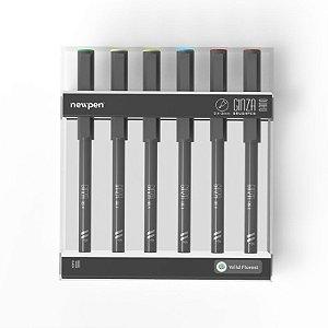"Brush Pen Ginza Nano ""Fashion"" - Kit com 6 unidades - Newpen"