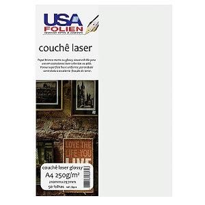 Papel Couchê Laser Glossy A4 c/ 50 Folhas 250g - unitário - USA Folien